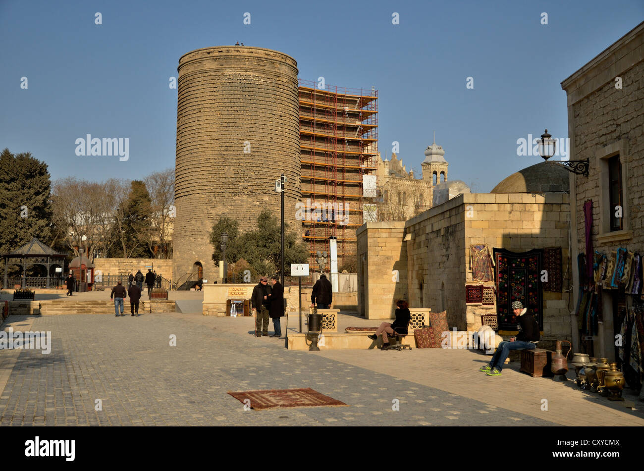 Maiden's Tower from the 5th Century in the Old City of Baku, UNESCO World Heritage Site, Azerbaijan, Caucasus, - Stock Image