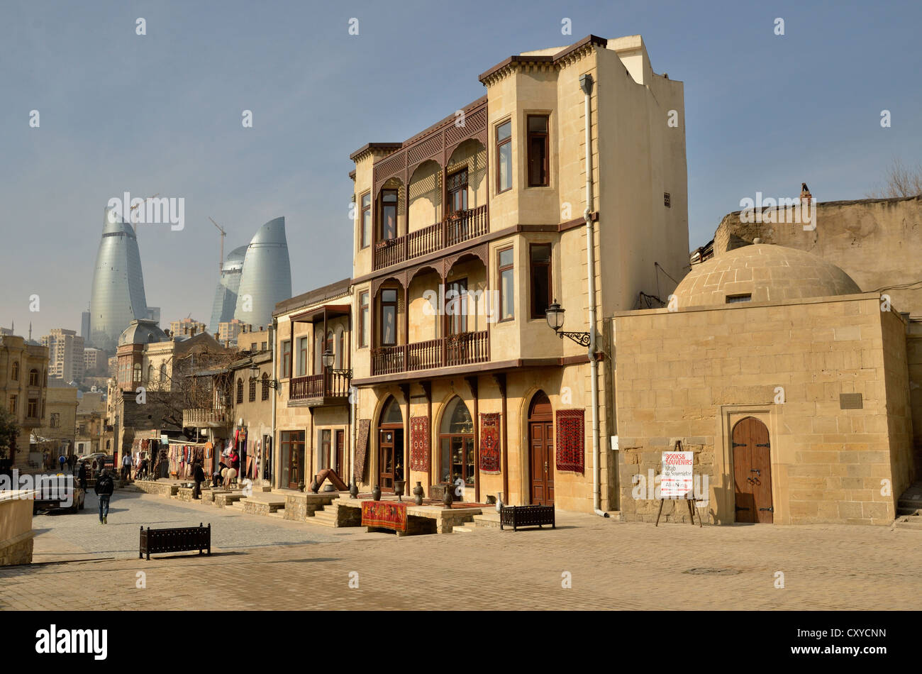"Historic town centre of Baku, UNESCO World Heritage Site, the three high-rise buildings ""Flame Towers"" Stock Photo"