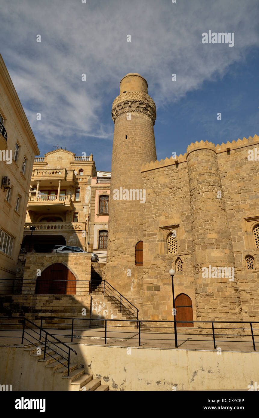Minaret of the Mosque of Muhammad in the historic town centre of Baku, UNESCO World Heritage Site, Azerbaijan, Caucasus - Stock Image