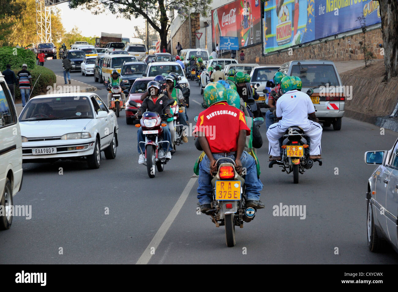 Motorcycle rider wearing a jersey of the German national football team, Kigali, Rwanda, Africa - Stock Image