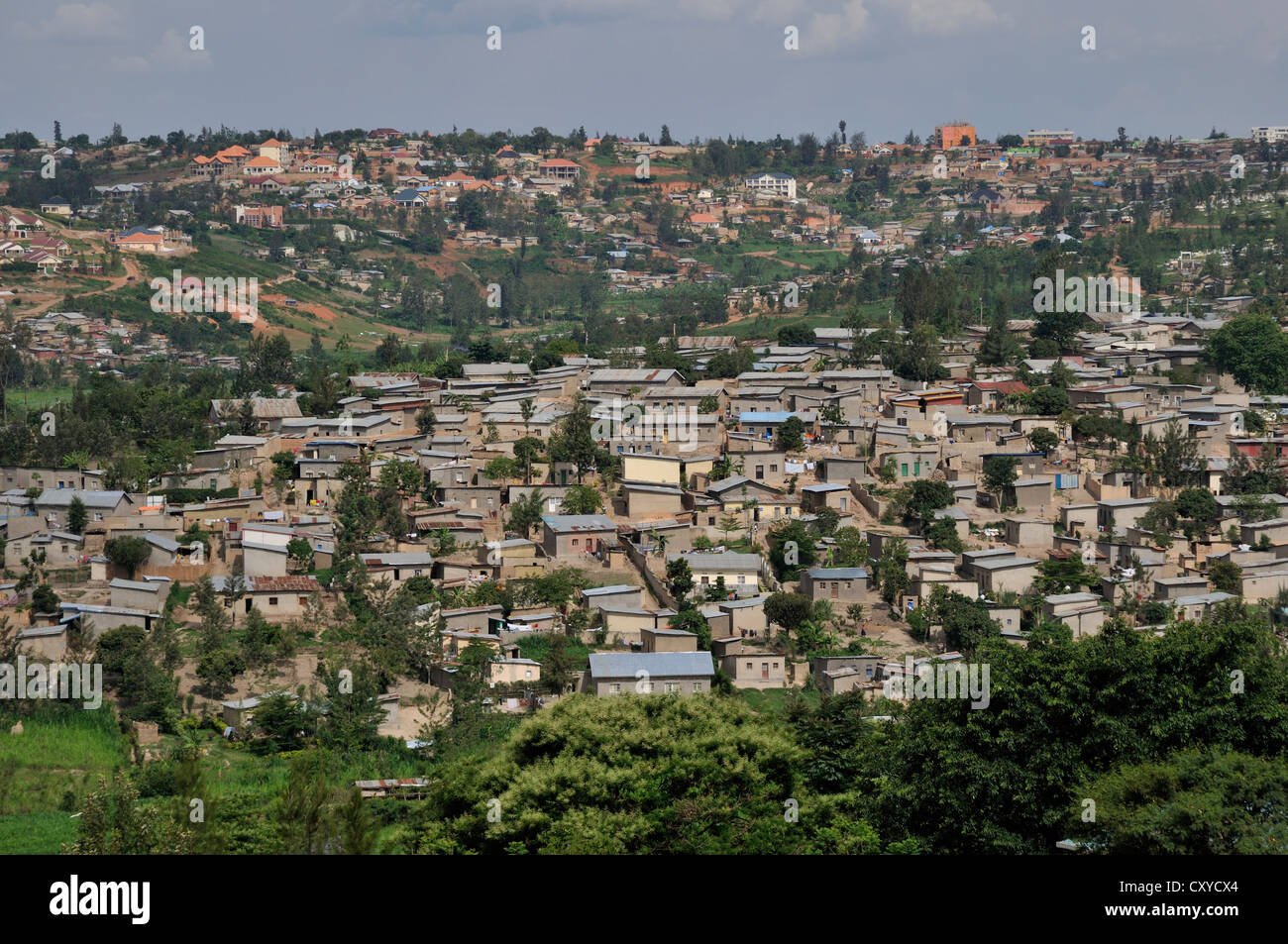 View of the suburban districts of Kigali, Rwanda, Africa - Stock Image
