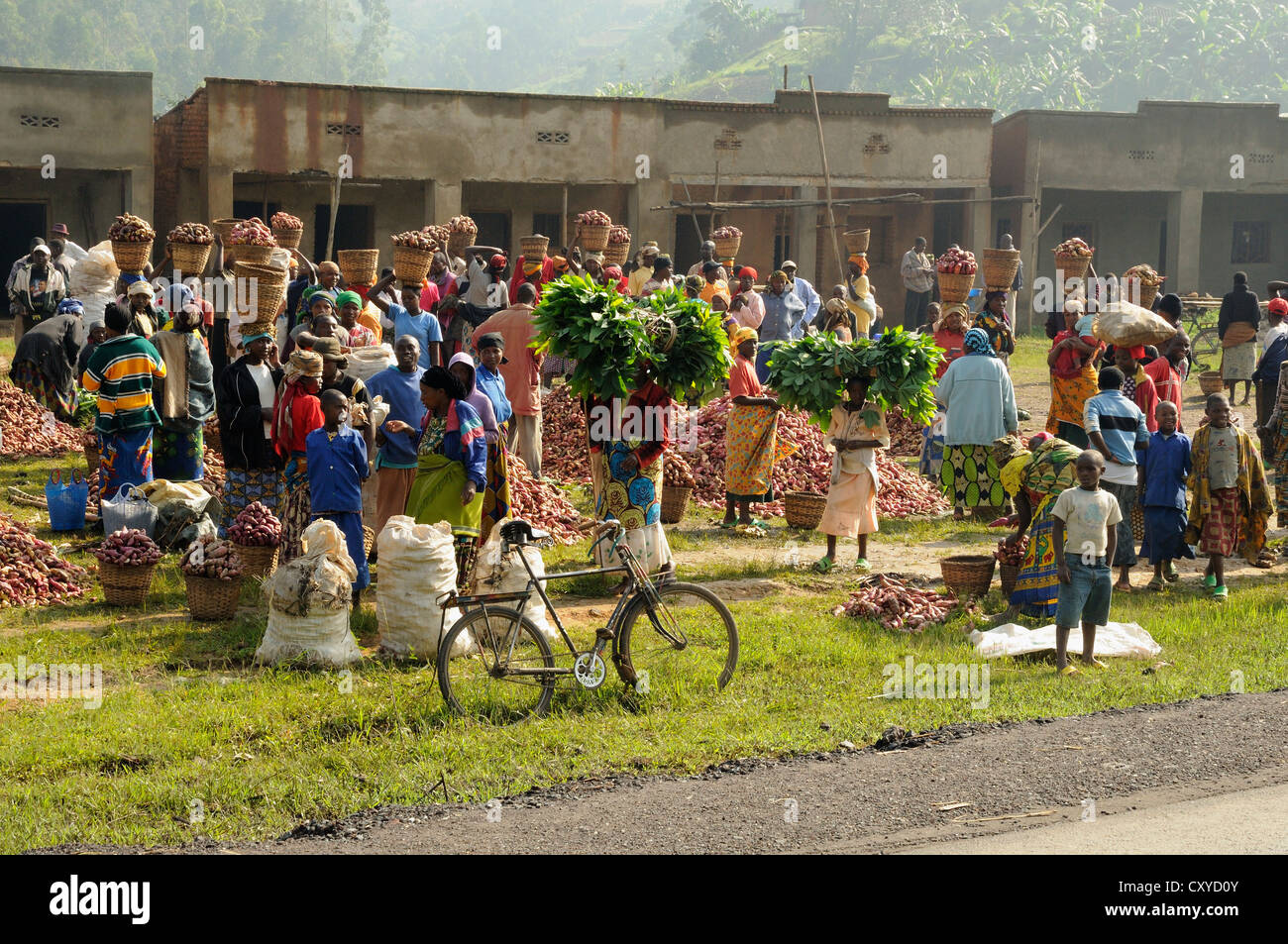 Market in a village near the town of Busengo, Rwanda, Africa Stock Photo