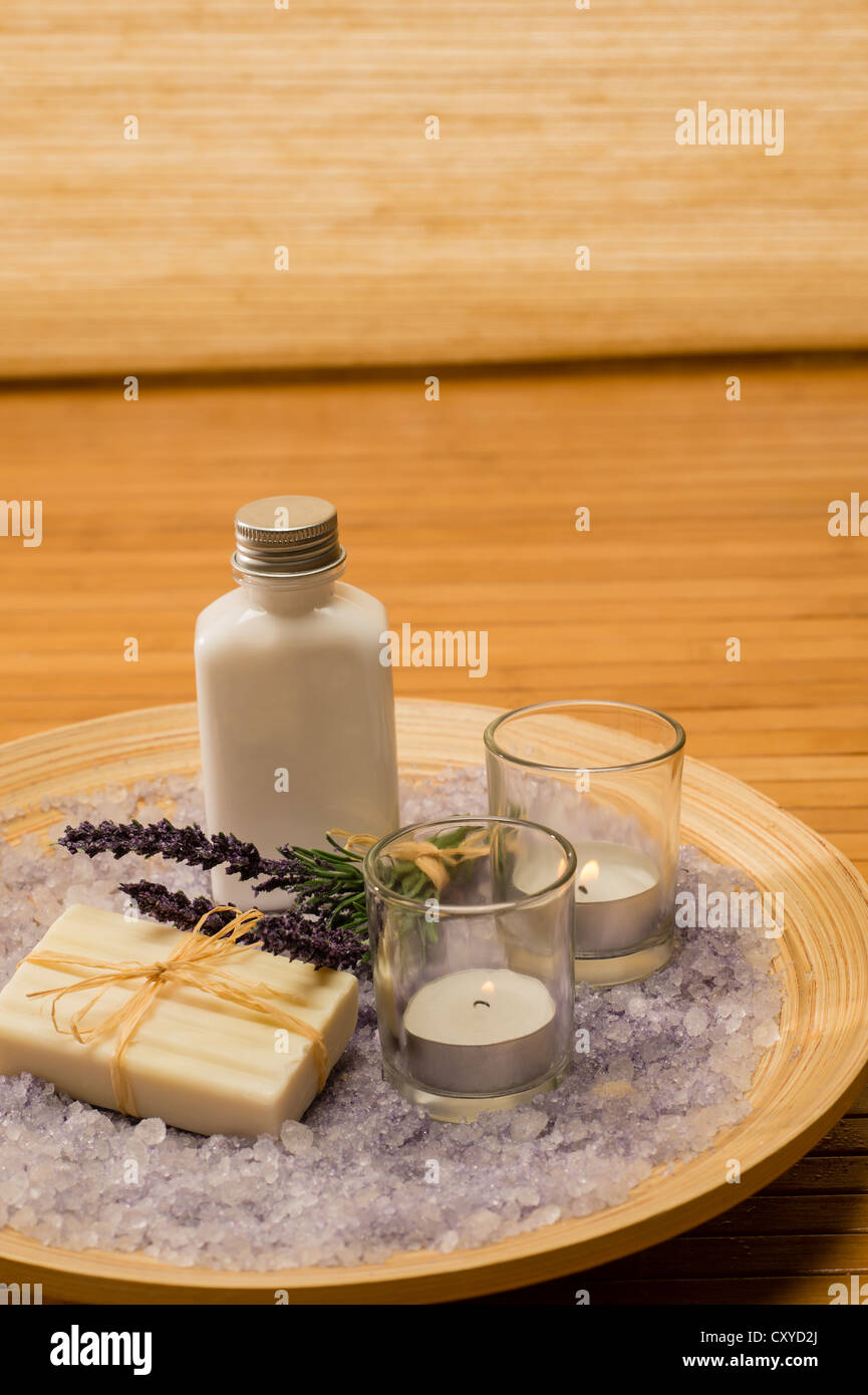 Aromatherapy Lavender Cosmetic Products With Candles On