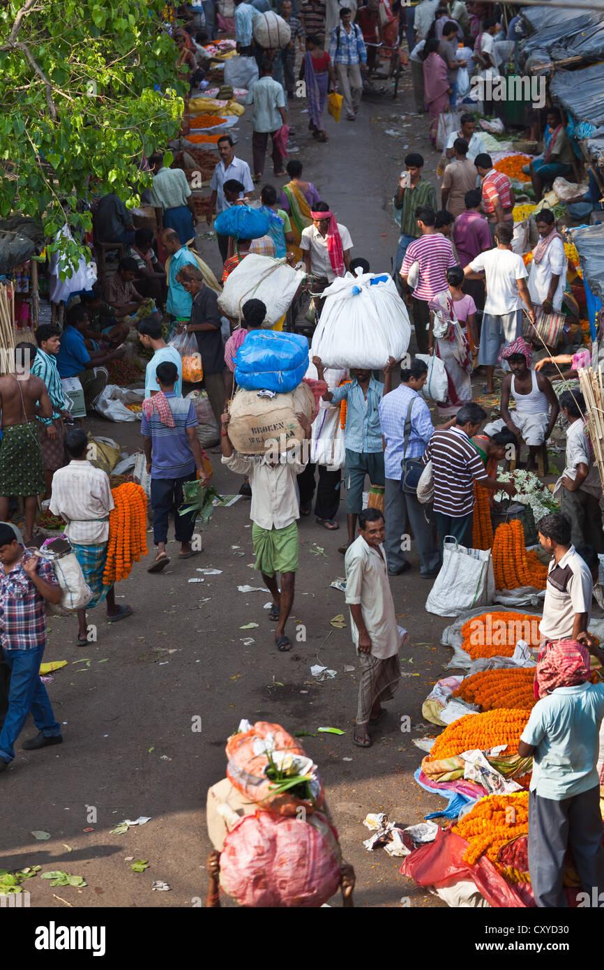 View onto the Malik Ghat Flower Market in Kolkata - Stock Image