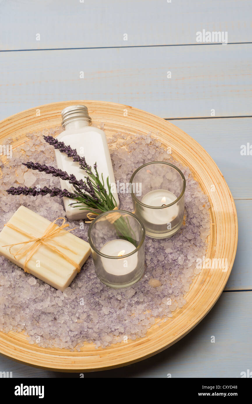 Provence style aromatherapy lavender cosmetic products on wooden tray - Stock Image