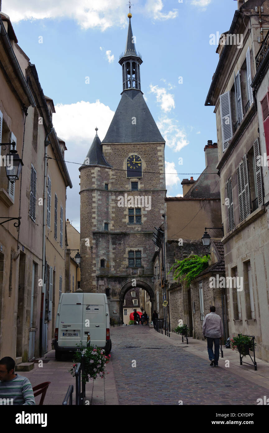 Town Gate and Clock Tower, Avallon - Stock Image