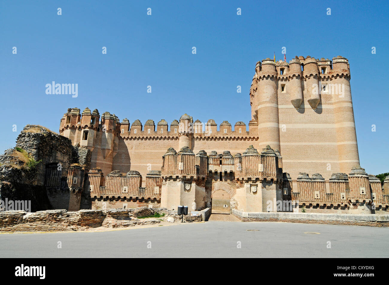 Castillo, castle, Mudejar style, museum, Coca, Segovia province, Castile and León, Spain, Europe, PublicGround - Stock Image