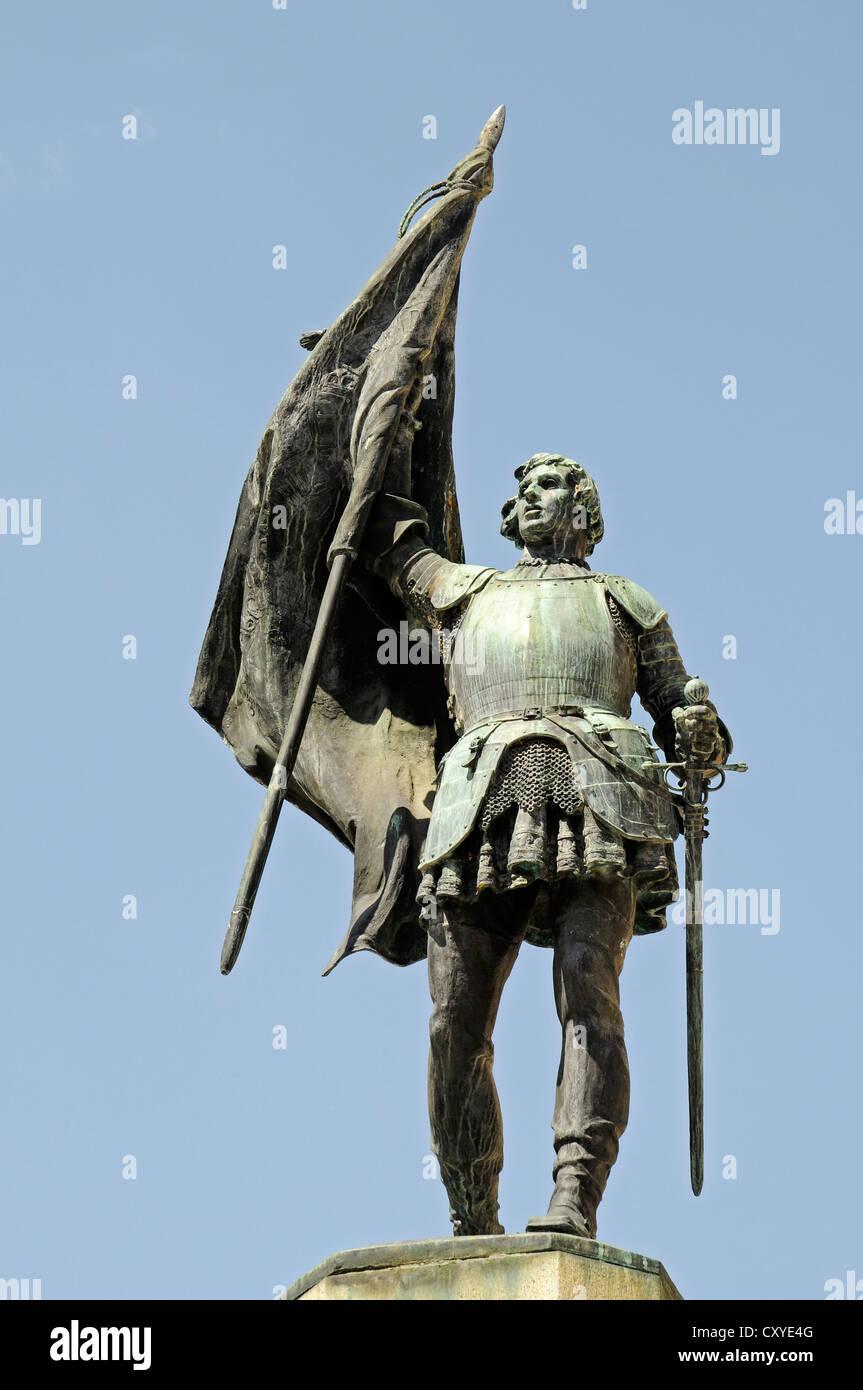 Statue of Juan Bravo, Plaza San Martin, square, Segovia, Castile and León, Spain, Europe, PublicGround - Stock Image