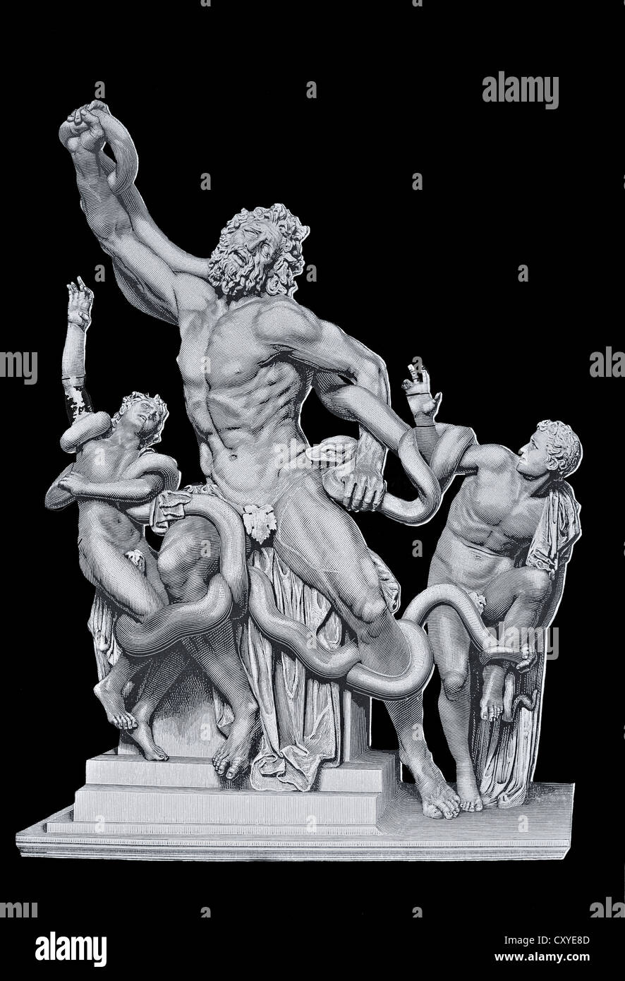 Copper engraving, Laocoon Group - Stock Image