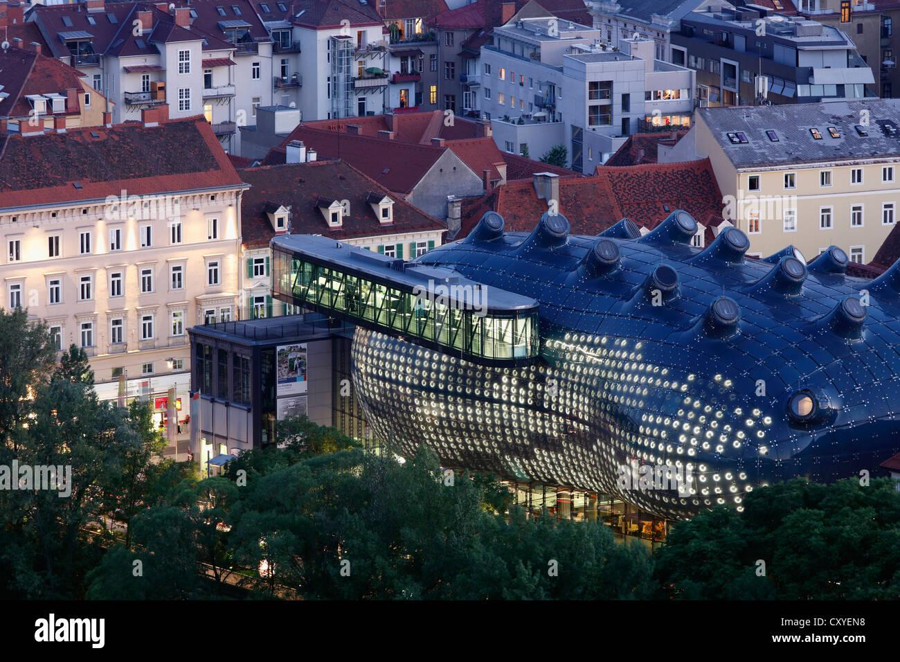 Kunsthaus, art house, view from Schlossberg, castle hill, Graz, Styria, Austria, Europe, PublicGround Stock Photo