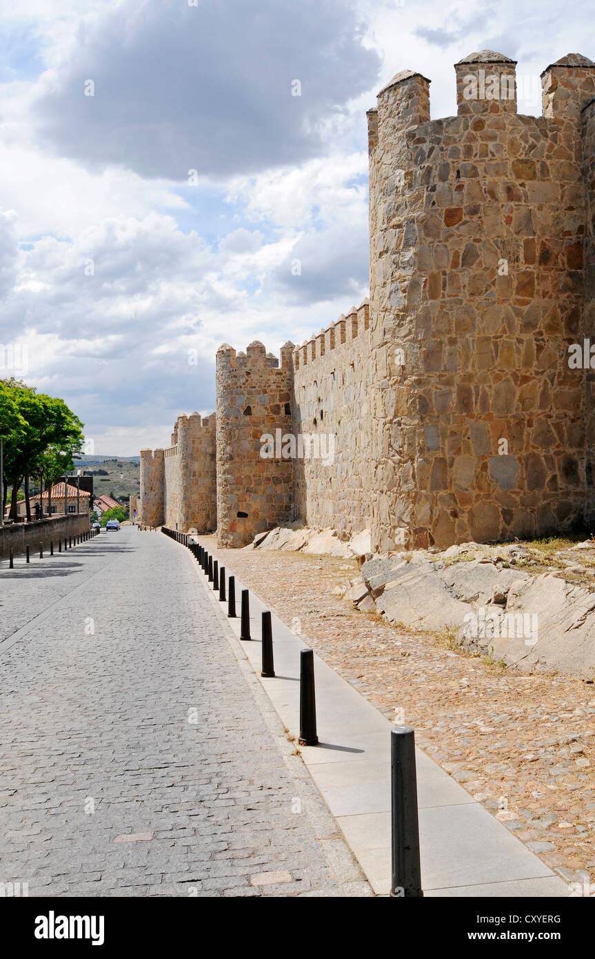 Street, city walls, Avila, Castile-Leon, Spain, Europe, PublicGround - Stock Image