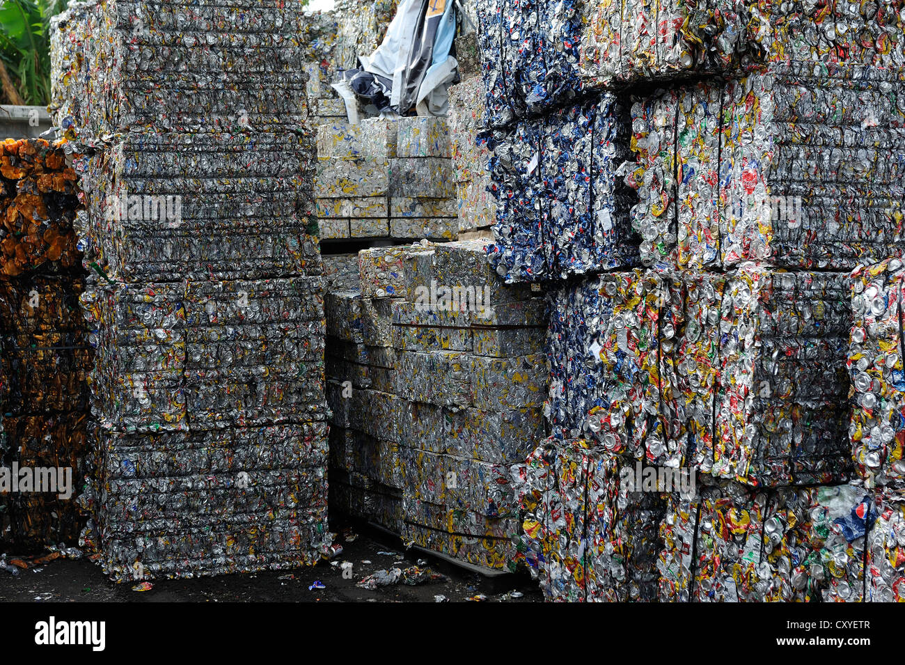 Tin cans pressed into blocks, tinplate, aluminium, for the export to China in a recycling plant, San José, - Stock Image