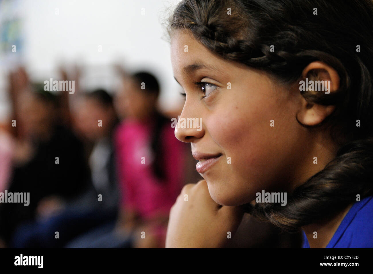 Portrait, girl in a theatre workshop with teenagers in a rural community, Comunidad Arroyito, Department of Concepcion, Stock Photo