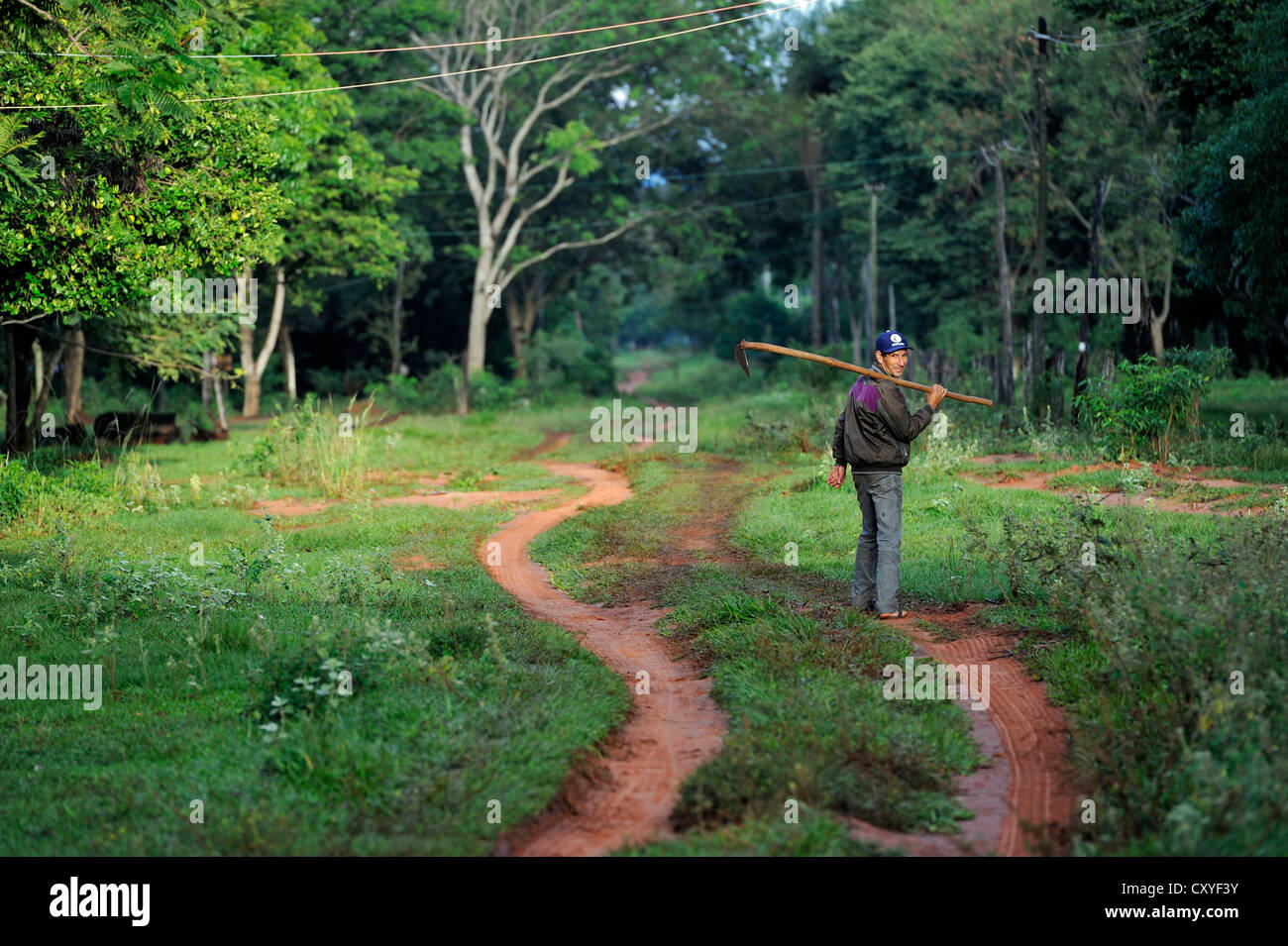Smallholder carrying a hoe on his way to working on the field, Comunidad Arroyito, Departamento Concepcion, Paraguay - Stock Image