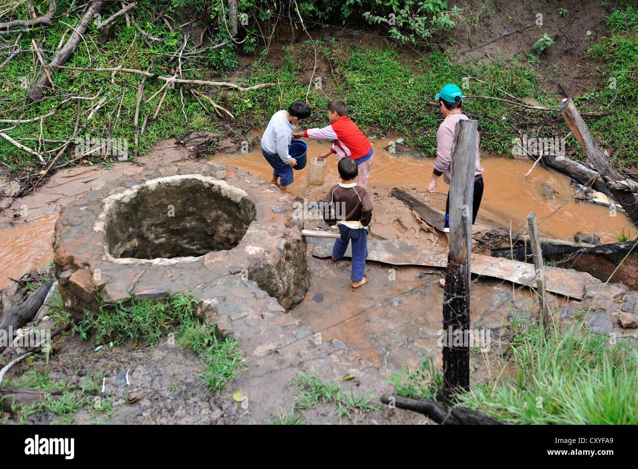Children collecting water from a muddy creek, Comunida Martillo, Caaguazu, Paraguay, South America - Stock Image