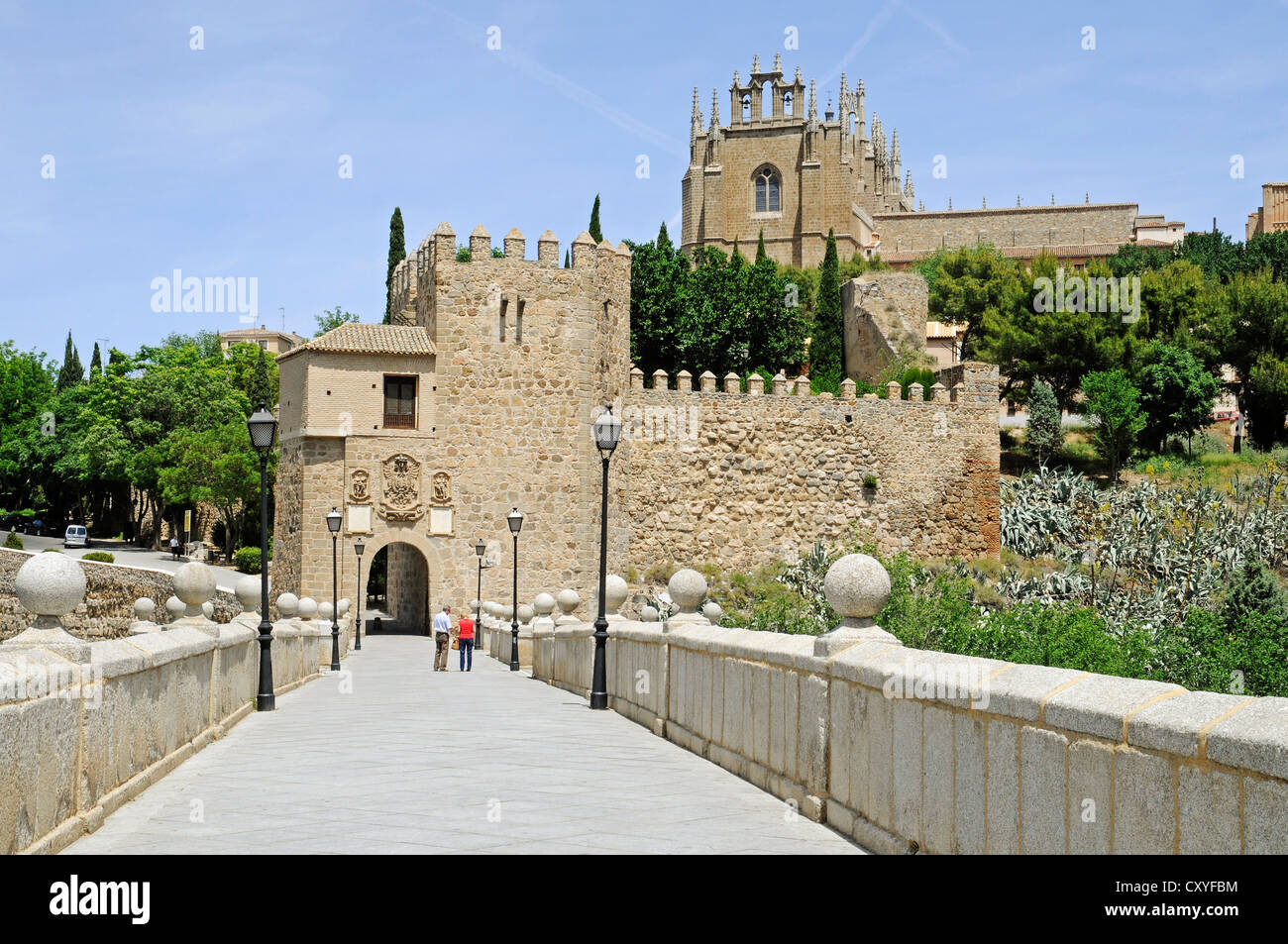 Puente de San Martin, bridge over the Tagus river, Rio Tajo, Toledo, Castile–La Mancha, Spain, Europe, PublicGround - Stock Image