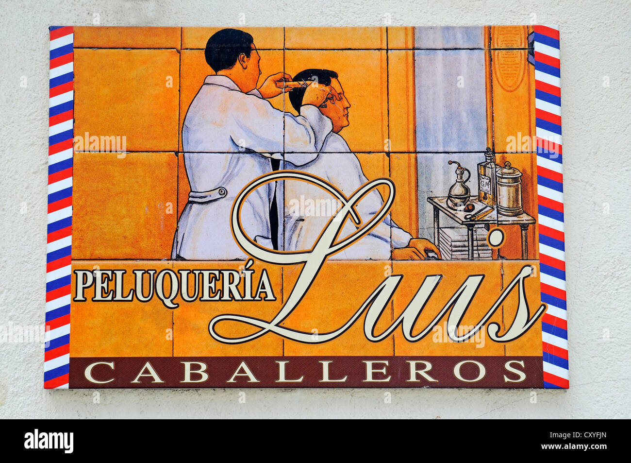 Spanish tiles, azulejos, sign for a barber or hairdresser, Aranjuez, Spain, Europe, PublicGround - Stock Image