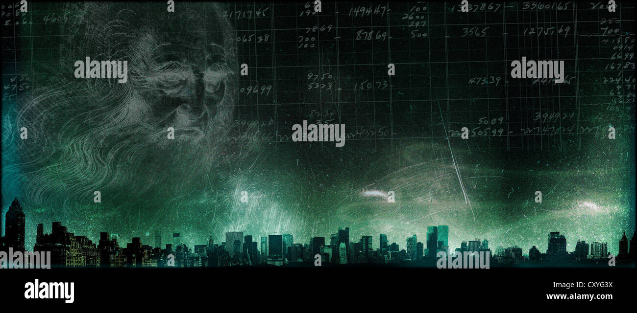 A city skyline with Da Vinci face - Stock Image