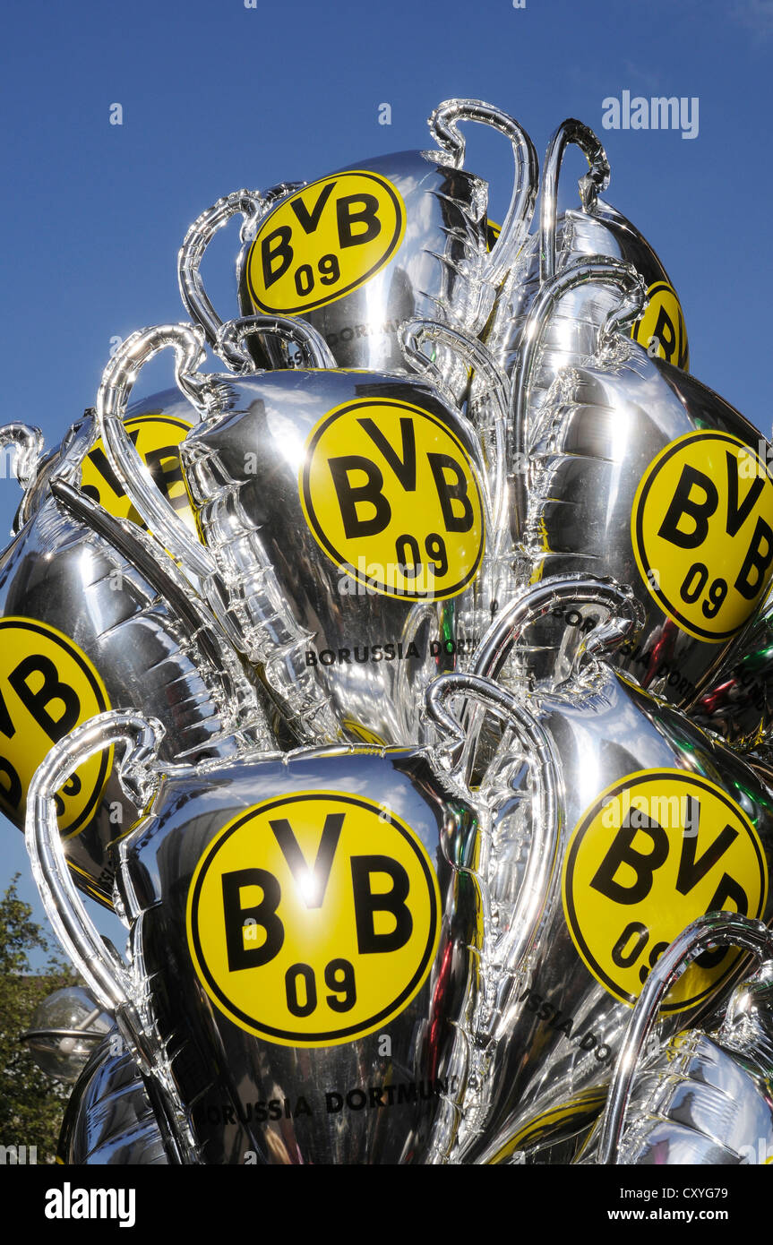 Balloons with the Borussia Dortmund logo, memorabilia, championship celebrations, cup celebrations, football club - Stock Image