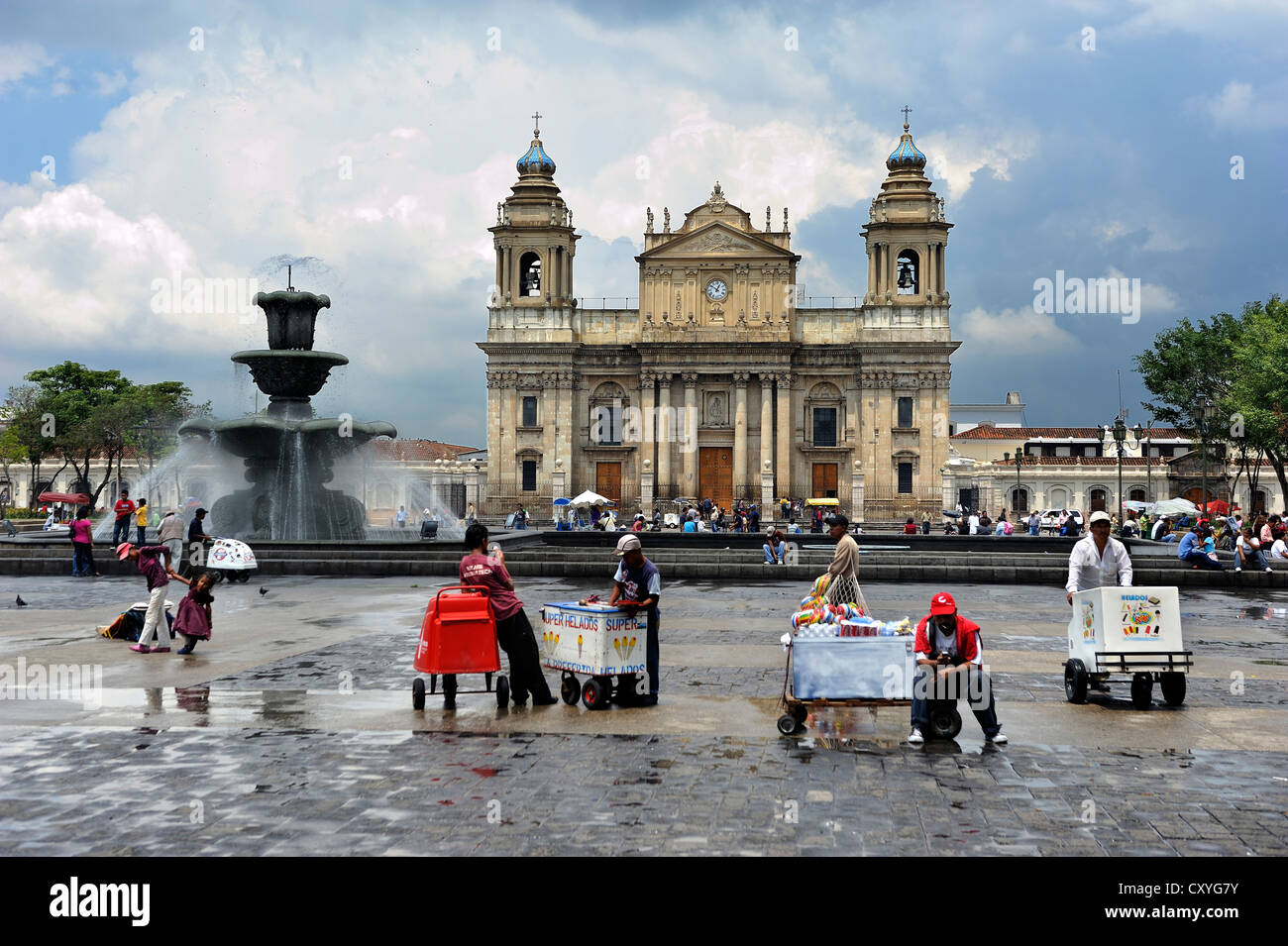 Cathedral on Parque Central square, Guatemala City, Guatemala, Central America - Stock Image
