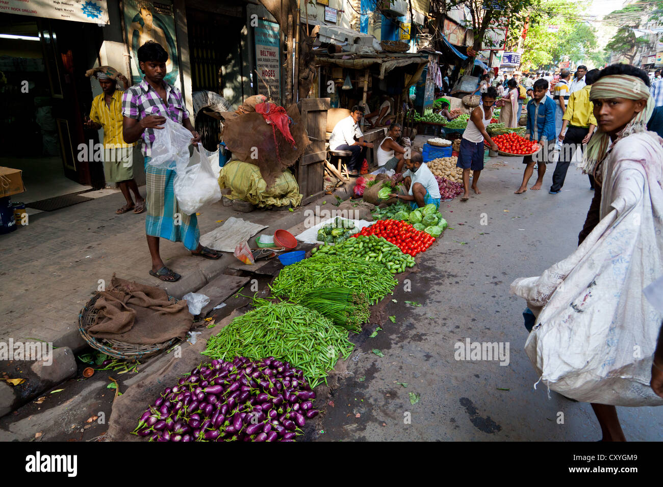Sale of Food in the Streets of Kolkata, India - Stock Image