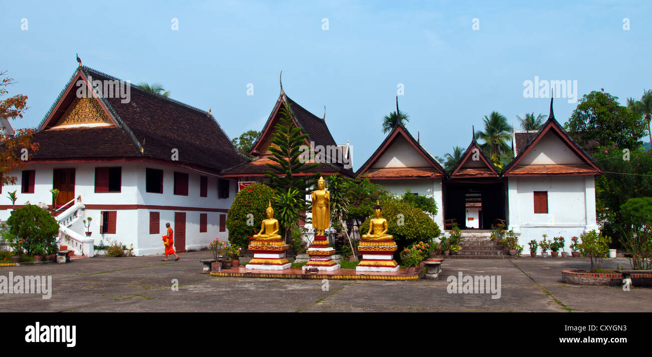 A view of typical living quarters for monks in Luang Prabang, Laos. - Stock Image