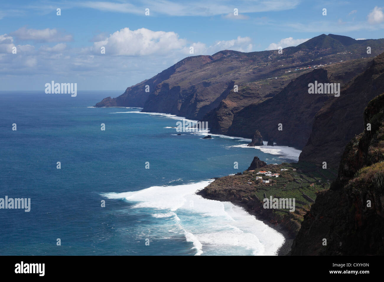 North coast with Fajana, view from El Tablado, La Palma, Canary Islands, Spain, Europe - Stock Image