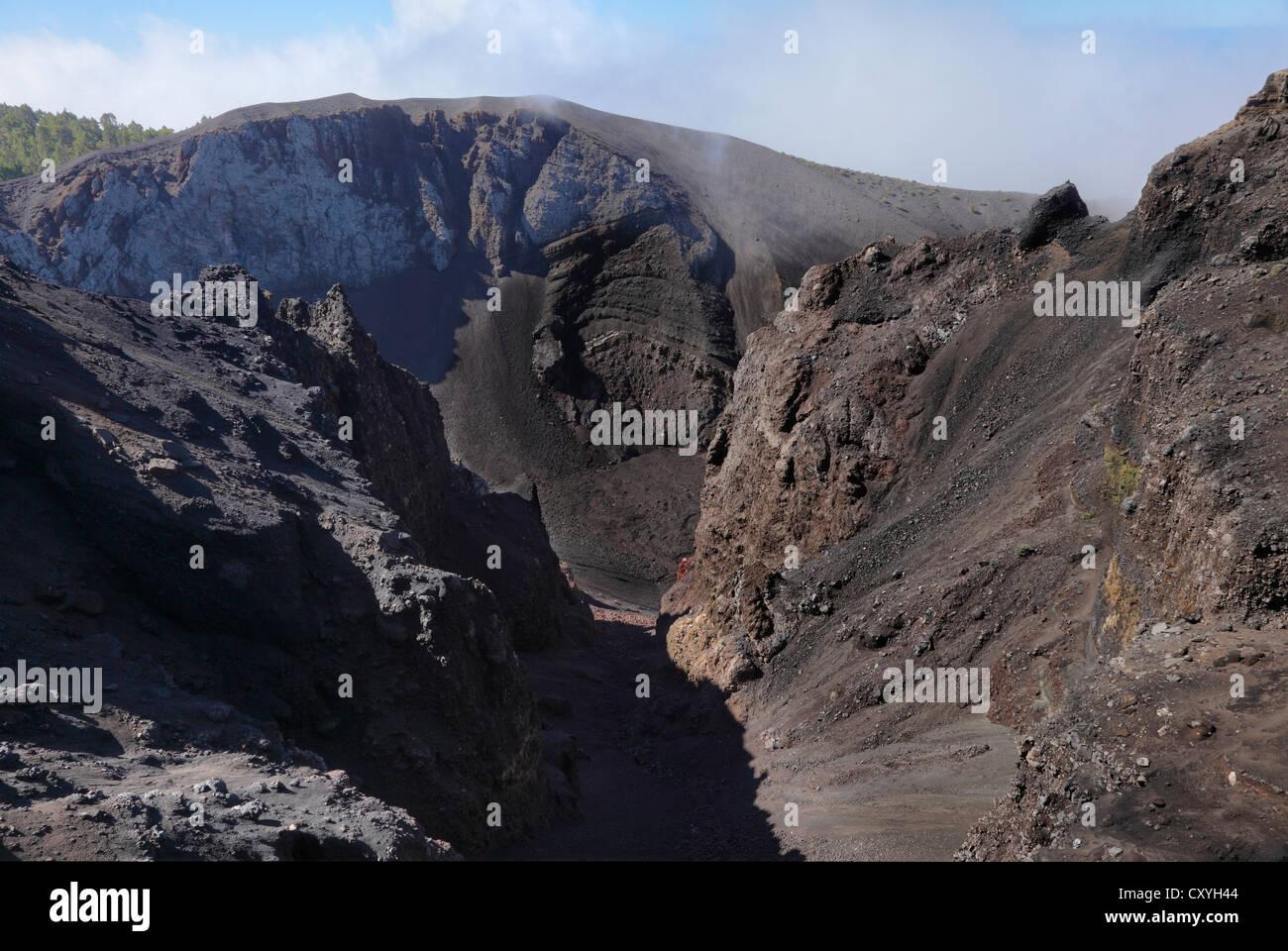 Crater of Hoyo Negro Volcano, Volcano Route, Ruta de los Volcanoes, La Palma, Canary Islands, Spain, Europe - Stock Image
