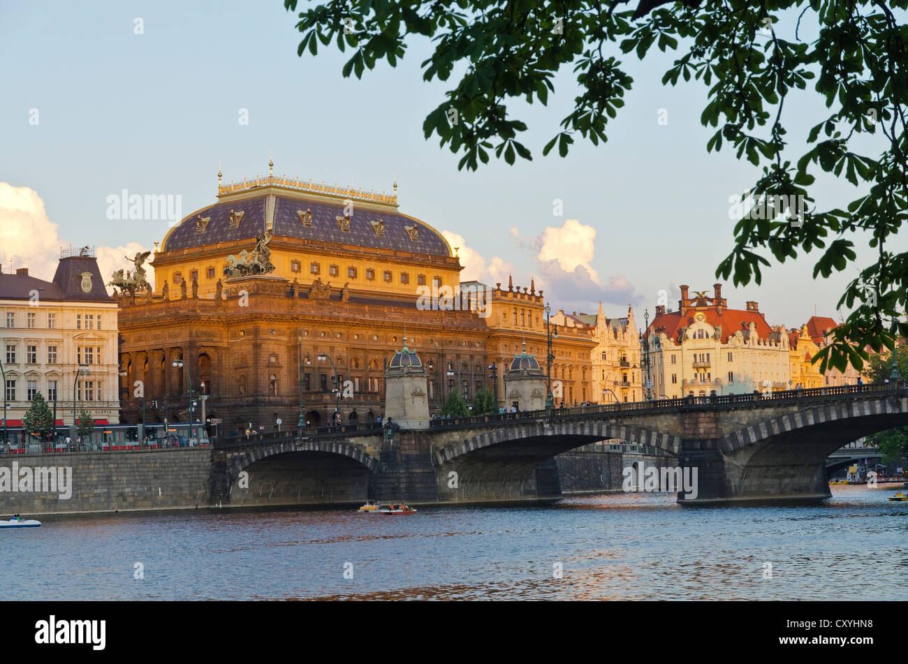 Národní divadlo, National Theatre, seen across river Vltava, Prague, Czech Republic, Europe - Stock Image