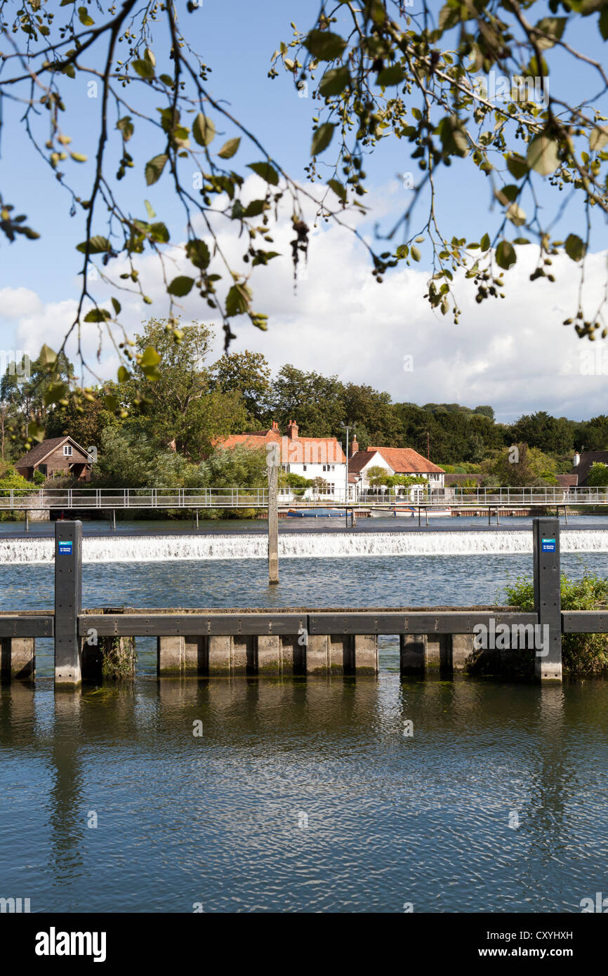 The weir on the River Thames at Hambleden, Buckinghamshire, UK Stock Photo