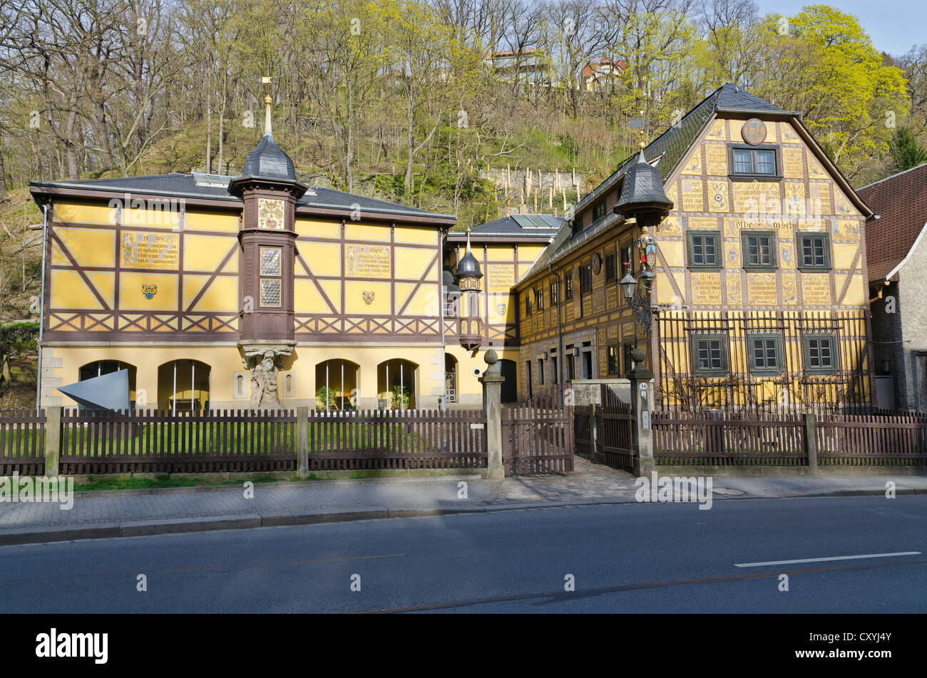 Old frame, half-timbered house, Leonardi-Museum, houses the urban gallery today, Dresden, Saxony - Stock Image