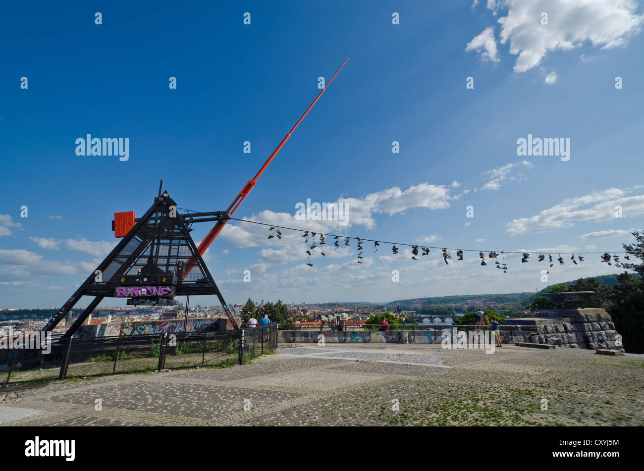 The Metronome, a 23 m high, functional metronome, overlooking the river Vltava and the city center of Prague, Czech - Stock Image