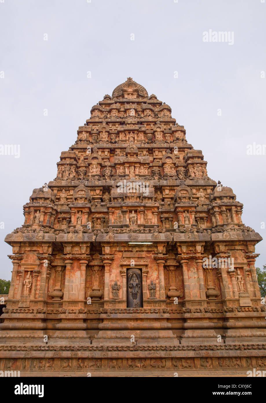 Carved Tower At The Airavatesvara Temple, Darasuram, India - Stock Image