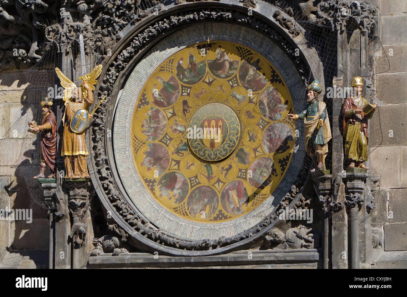 Prazsky orloj, the astronomical clock of Prague's town hall, built in 1410 by royal clockmaker Mikulas of Kadan, - Stock Image