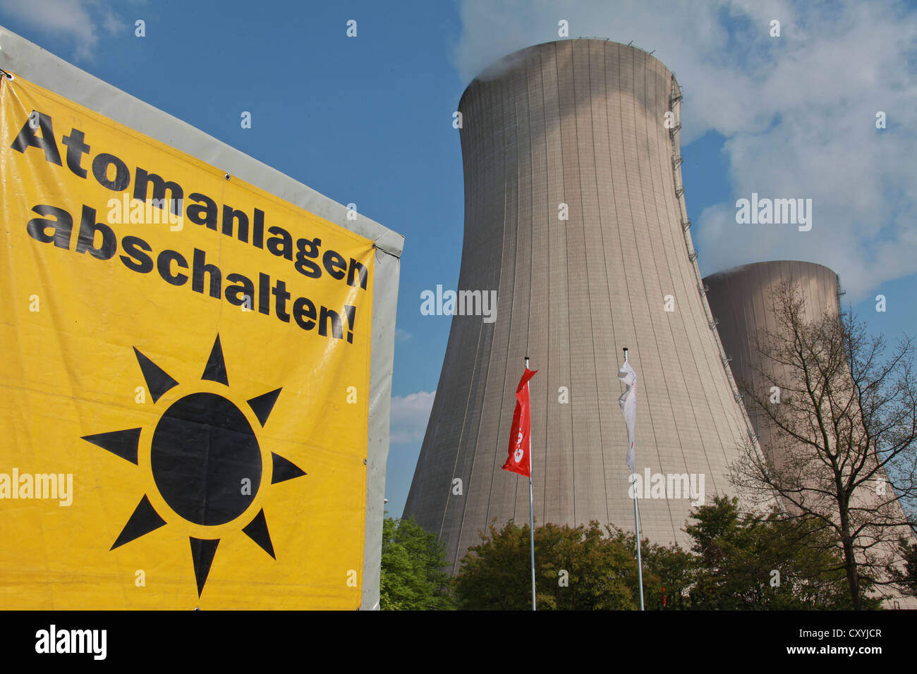 Anti-nuclear protest at Grohnde nuclear power plant, 25 years after the nuclear accident of Chernobyl, Grohnde, - Stock Image