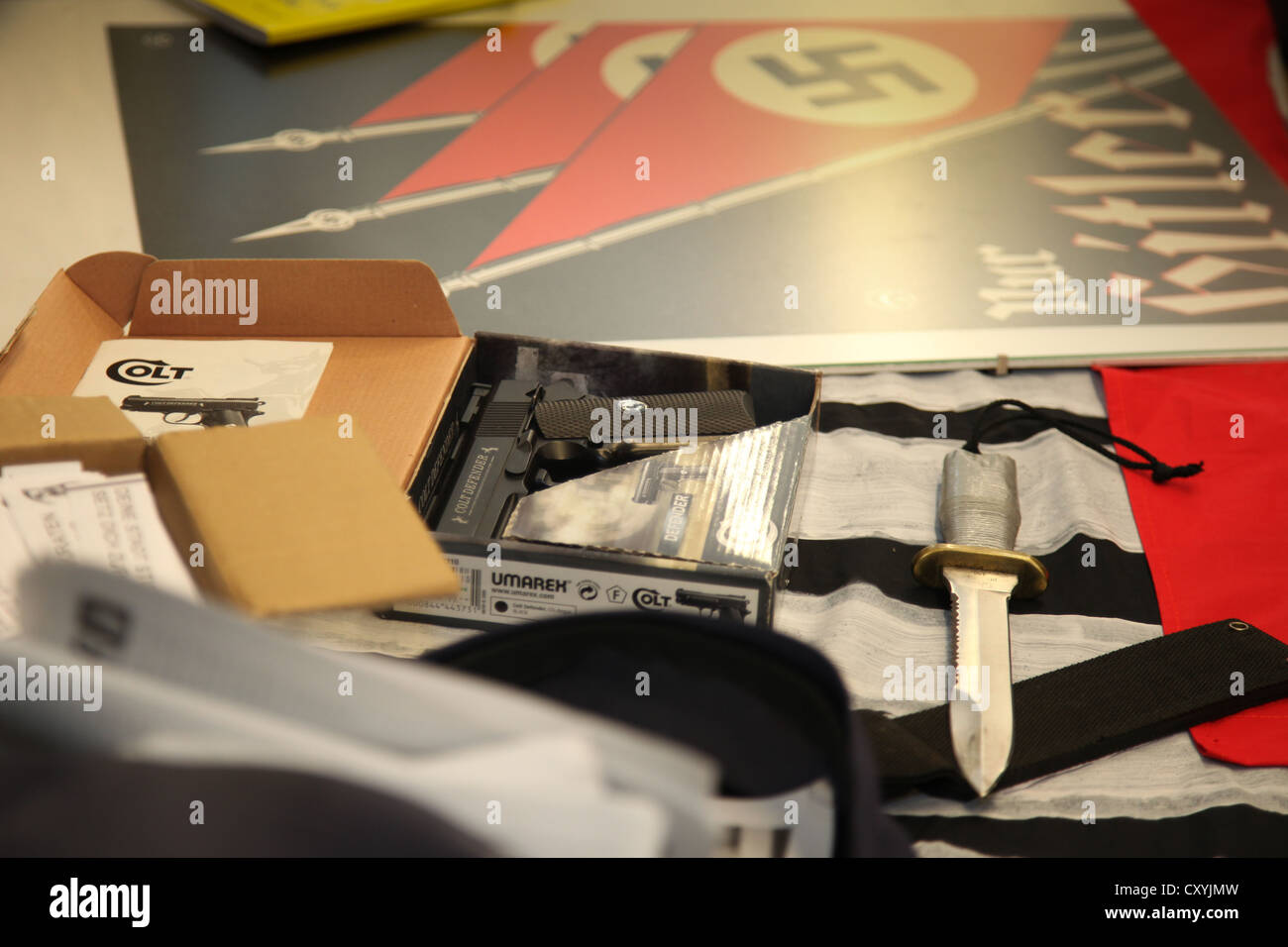 Secured items of the neo-Nazi group Widerstandsbewegung in Suedbrandenburg, priorly banned in Brandenburg, are being - Stock Image