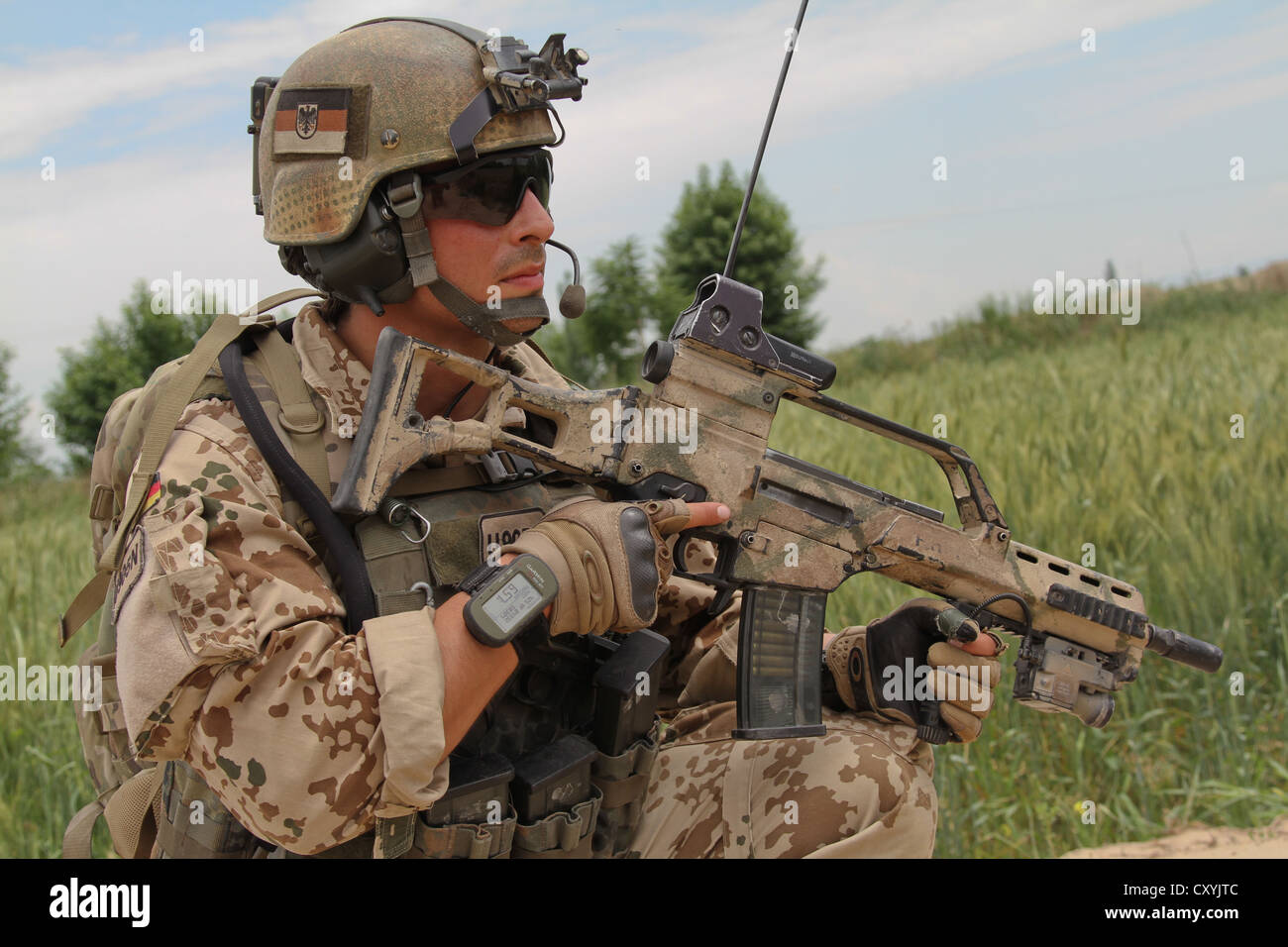 Afghanistan war, a German soldier of the Kunduz Task Force, also known as the protection training battalion - Stock Image