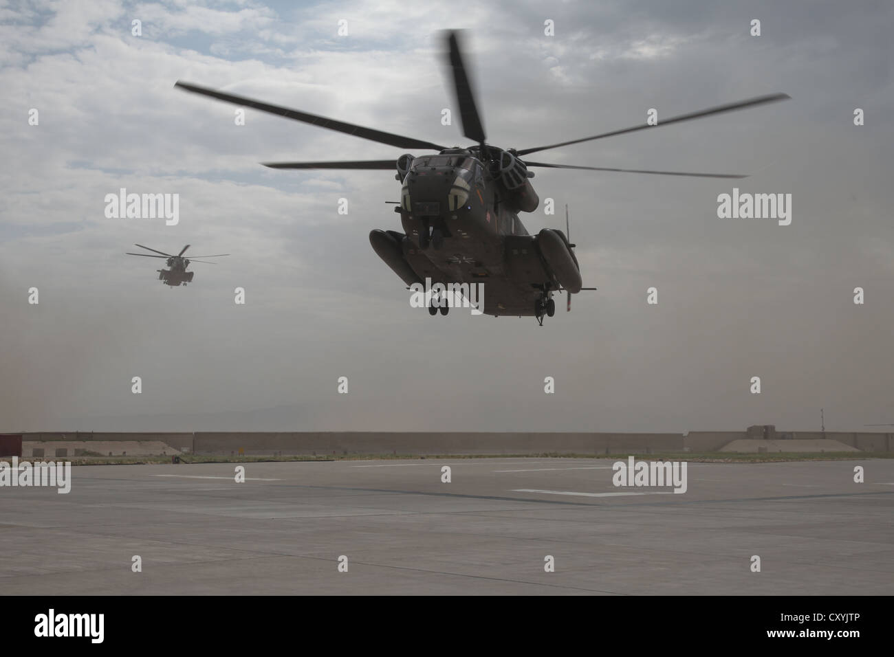 NATO ISAF PRT-Camp, landing of two German Army CH-53 helicopters of type CH-53 at the PRT Camp, Kunduz, Afghanistan, - Stock Image