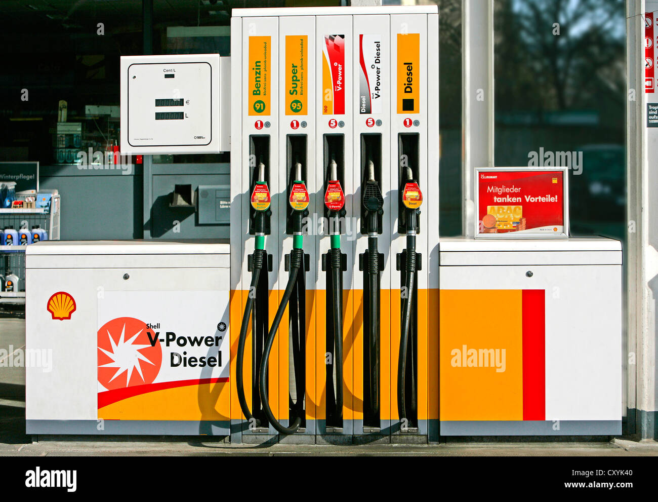Fuel Pumps At A Shell Filling Station Stock Photo