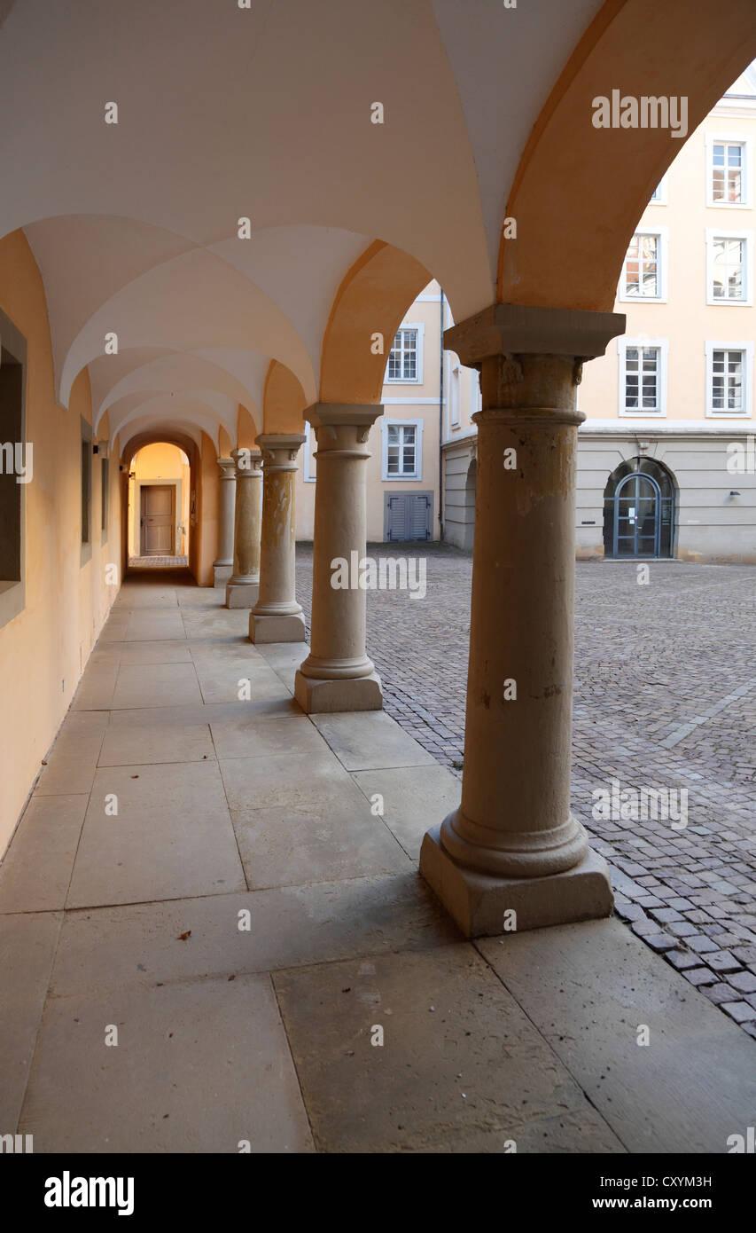 Schloss ob Ellwangen Castle, arcaded courtyard, Ellwangen, Baden-Wuerttemberg - Stock Image