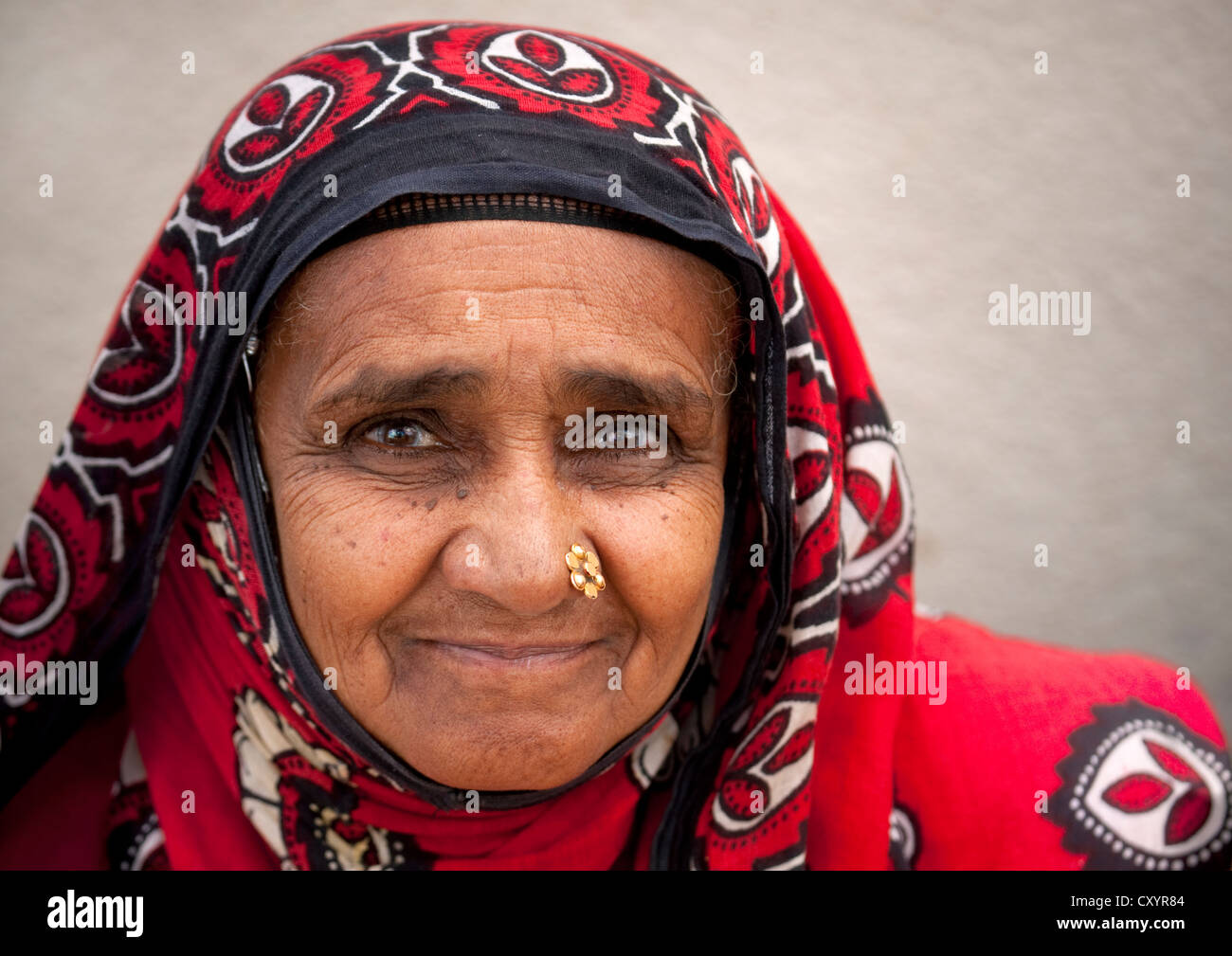 Old Omani Woman With A Golden Flower Shaped Nose Piercing Sinaw