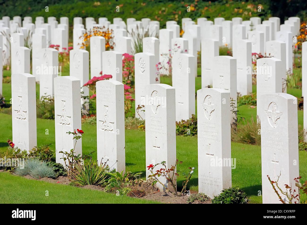 Grave stones in Airborne Cemetery, Arnhem Oosterbeek War Cemetery, Oosterbeek, Arnhem, Gelderland, Netherlands, - Stock Image