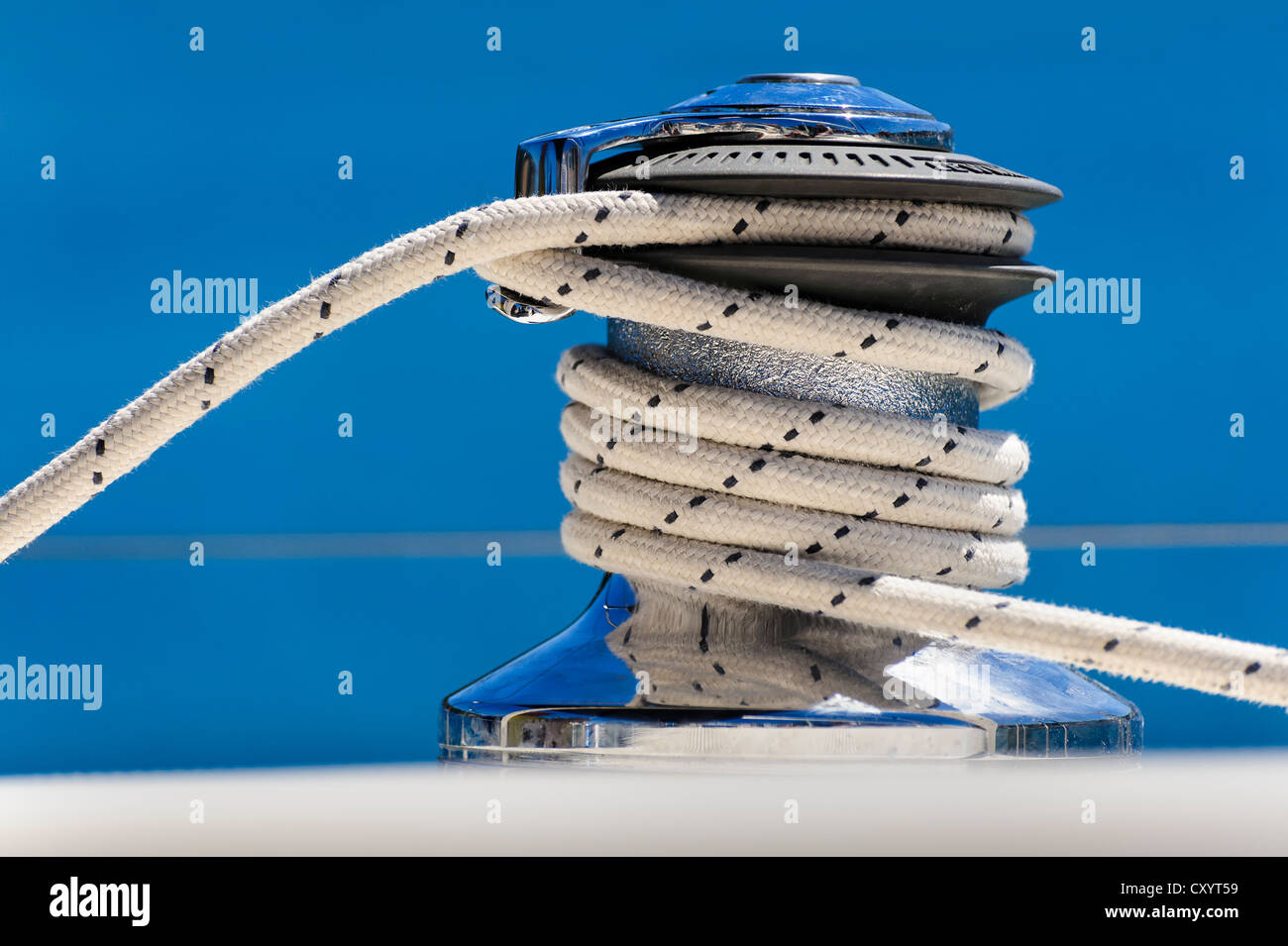 Sheet rope on a winch of a sailing yacht - Stock Image