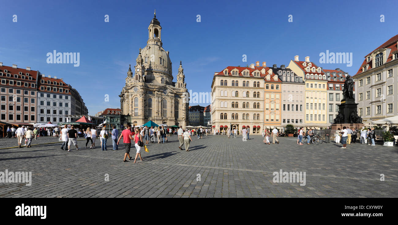 Frauenkirche church and the Frederick II Augustus memorial, King of Saxony, Dresden, Saxony - Stock Image