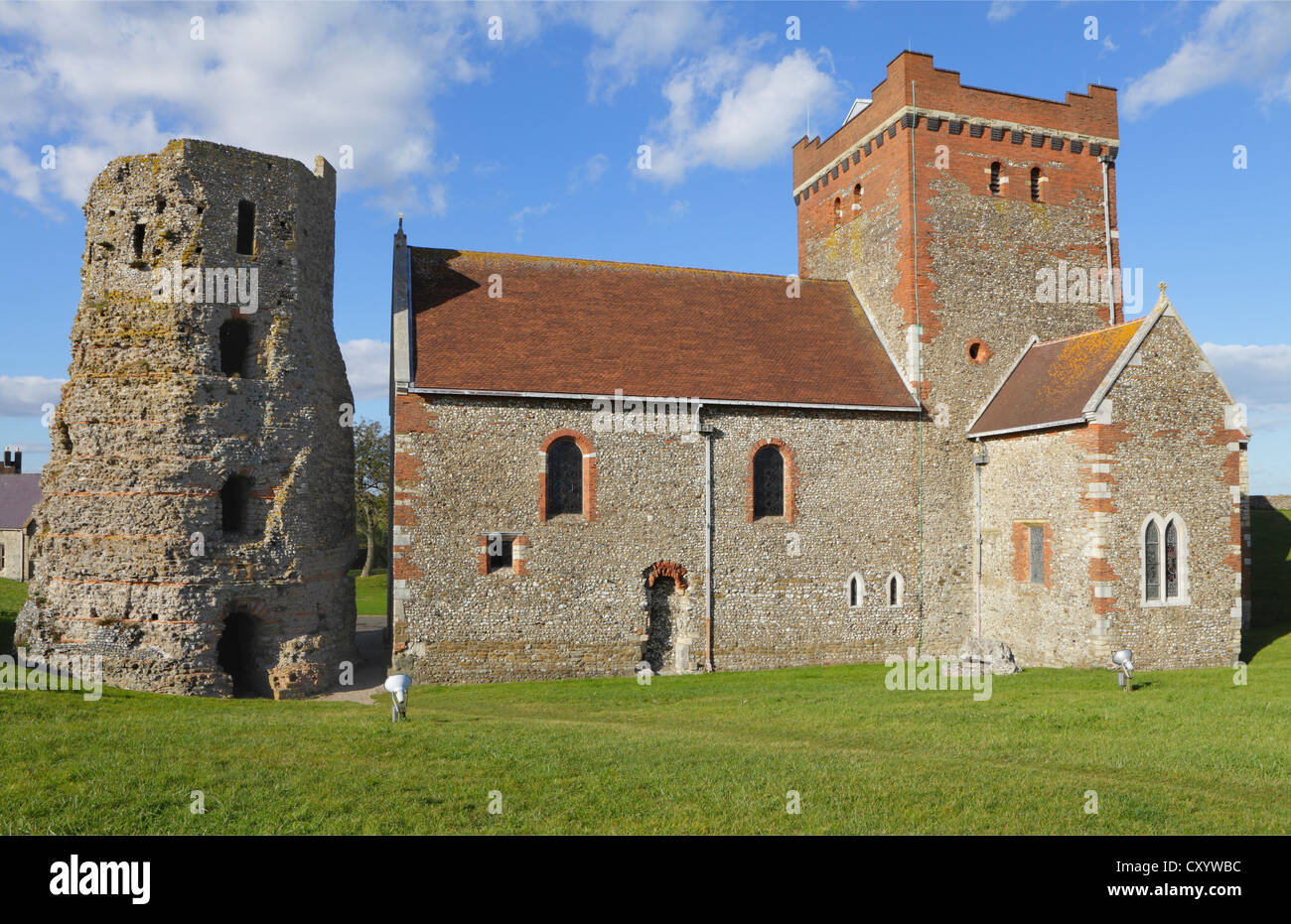 The Roman Lighthouse and St Mary-in-Castro Church Dover Castle Kent England UK GB - Stock Image