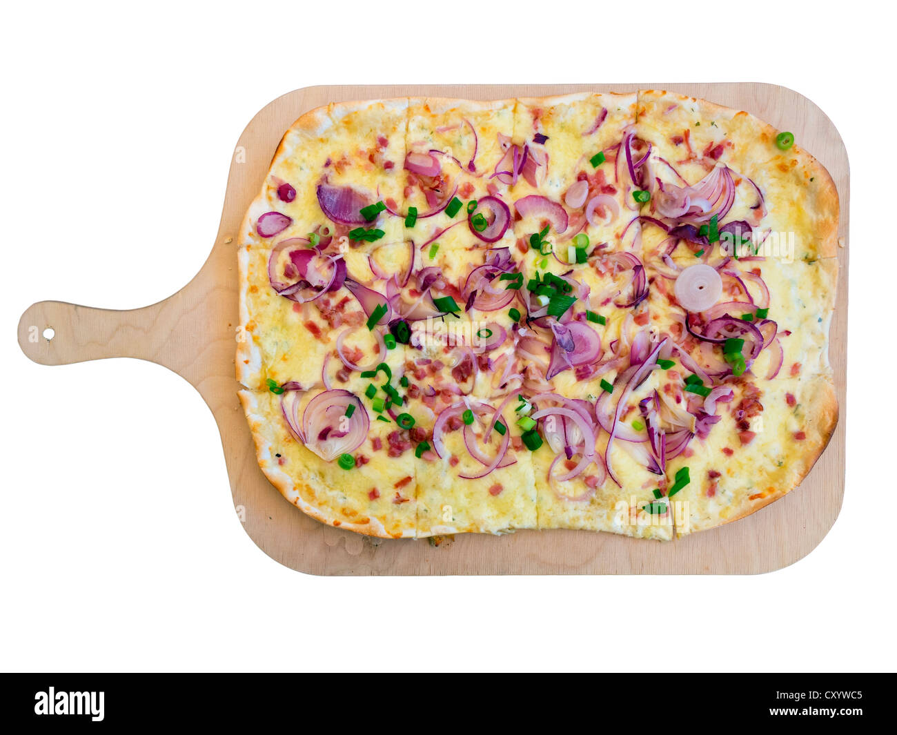 Flammkuchen, Tarte Flambee with onions and bacon, savoury, served on a wooden board - Stock Image