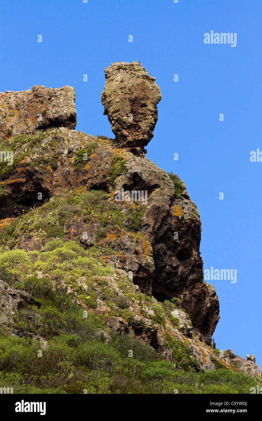 Rock, Anaga Mountains, Anaga, Tenerife, northeastern coast, Canary Islands, Spain, Europe - Stock Image