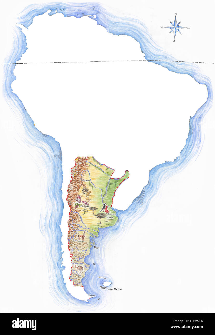 Highly detailed hand drawn map of Argentina within the outline of