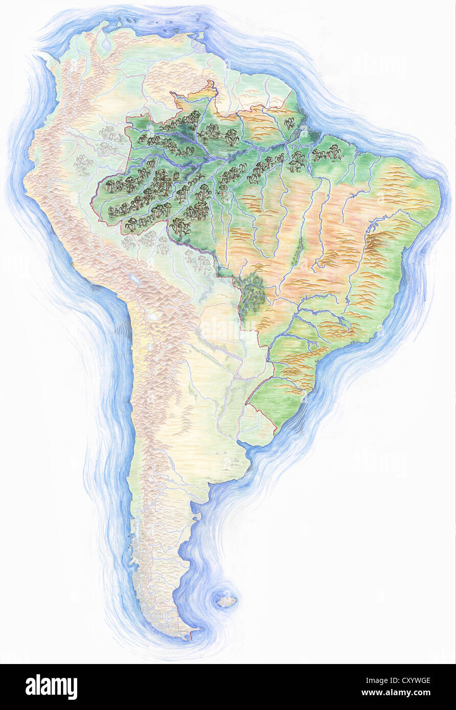 Highly detailed hand drawn map of south america with brazil stock highly detailed hand drawn map of south america with brazil highlighted gumiabroncs Images