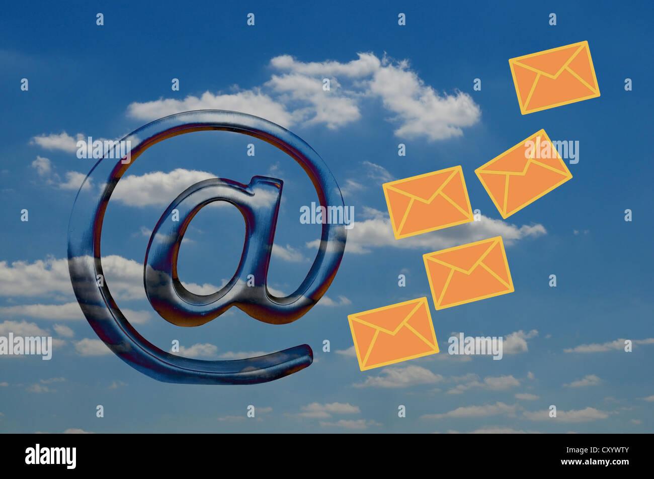 """At"" symbol, mail icon, symbolic image for Cloud Computing, illustration Stock Photo"